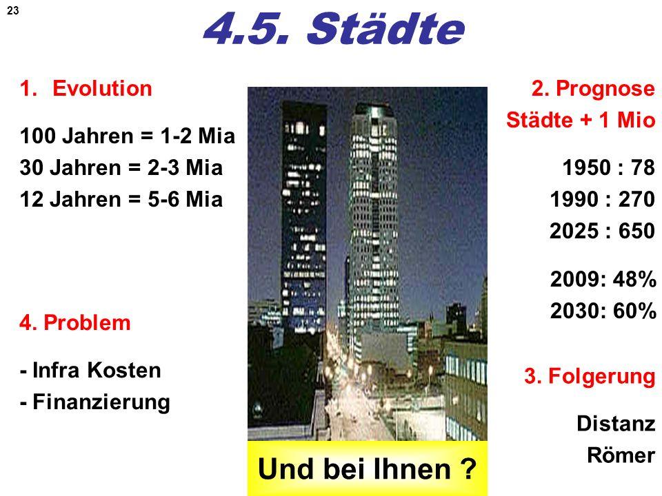 4.5. Städte Und bei Ihnen Evolution 100 Jahren = 1-2 Mia