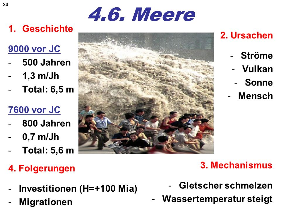4.6. Meere Geschichte 9000 vor JC 500 Jahren 1,3 m/Jh Total: 6,5 m