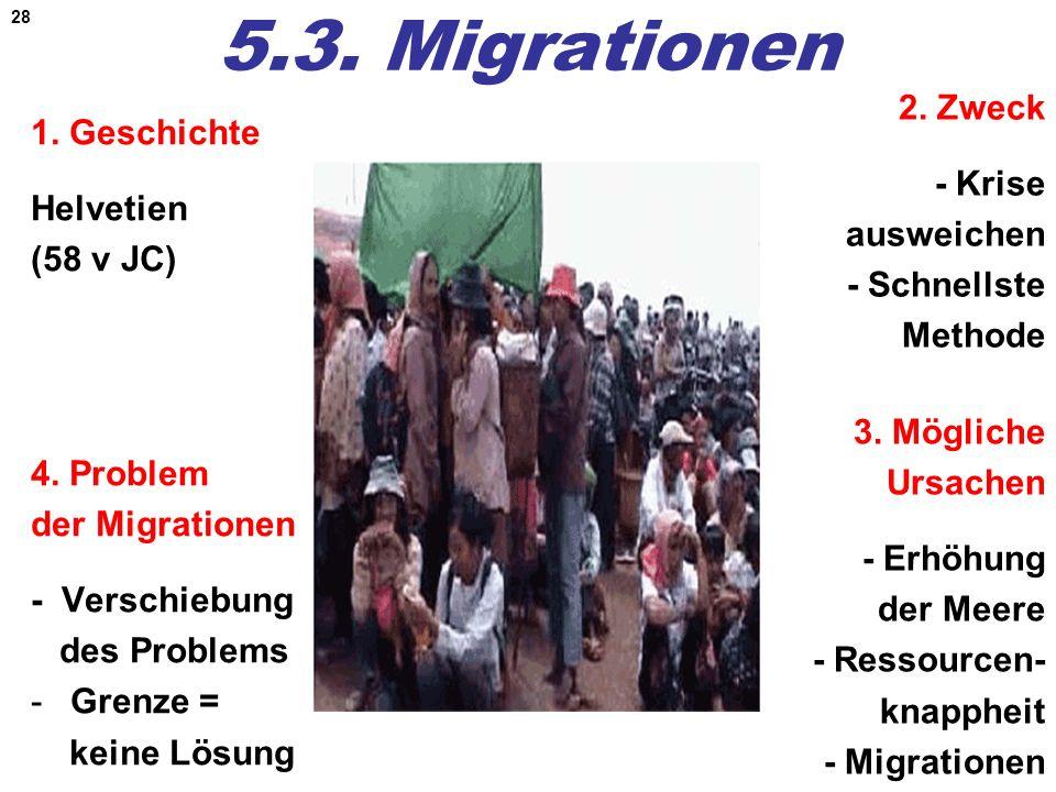 5.3. Migrationen 2. Zweck 1. Geschichte Helvetien (58 v JC) - Krise