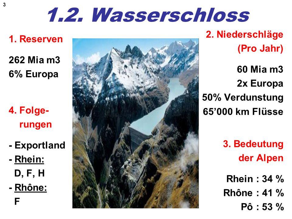 1.2. Wasserschloss 2. Niederschläge (Pro Jahr) 60 Mia m3 2x Europa 50% Verdunstung 65'000 km Flüsse
