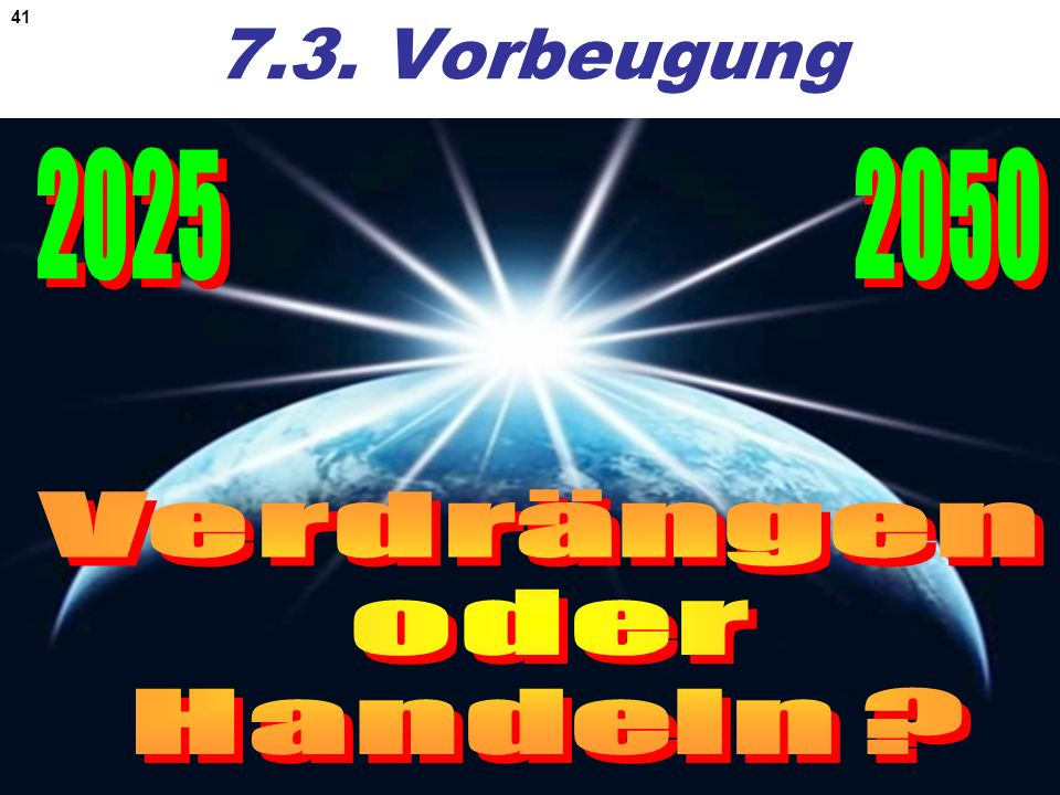 7.3. Vorbeugung 2025 2050 Verdrängen oder Handeln