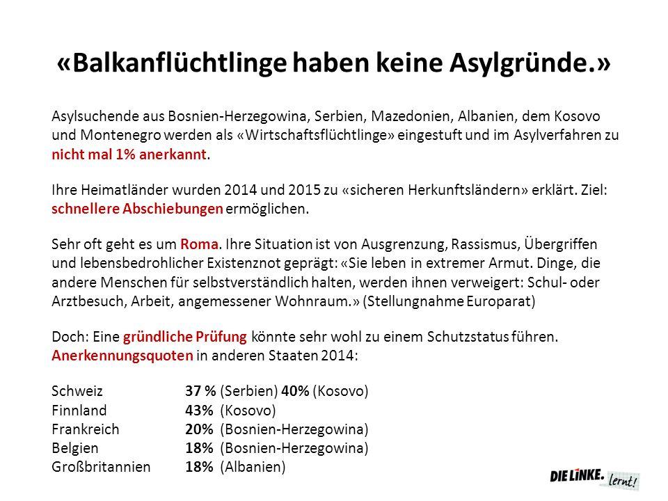 «Balkanflüchtlinge haben keine Asylgründe.»