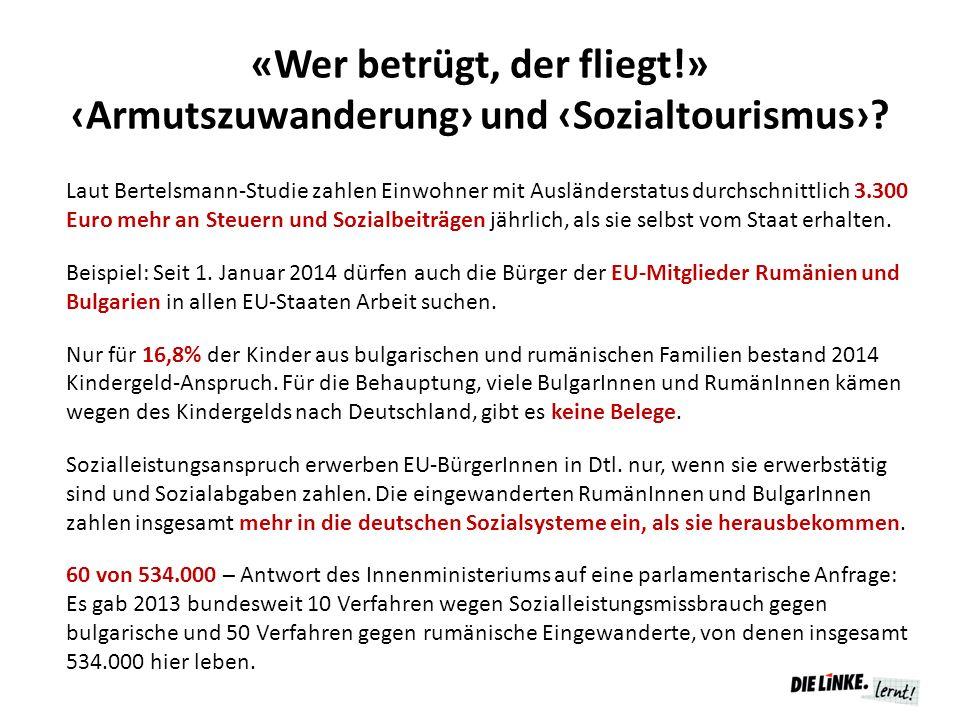 «Wer betrügt, der fliegt!» ‹Armutszuwanderung› und ‹Sozialtourismus›