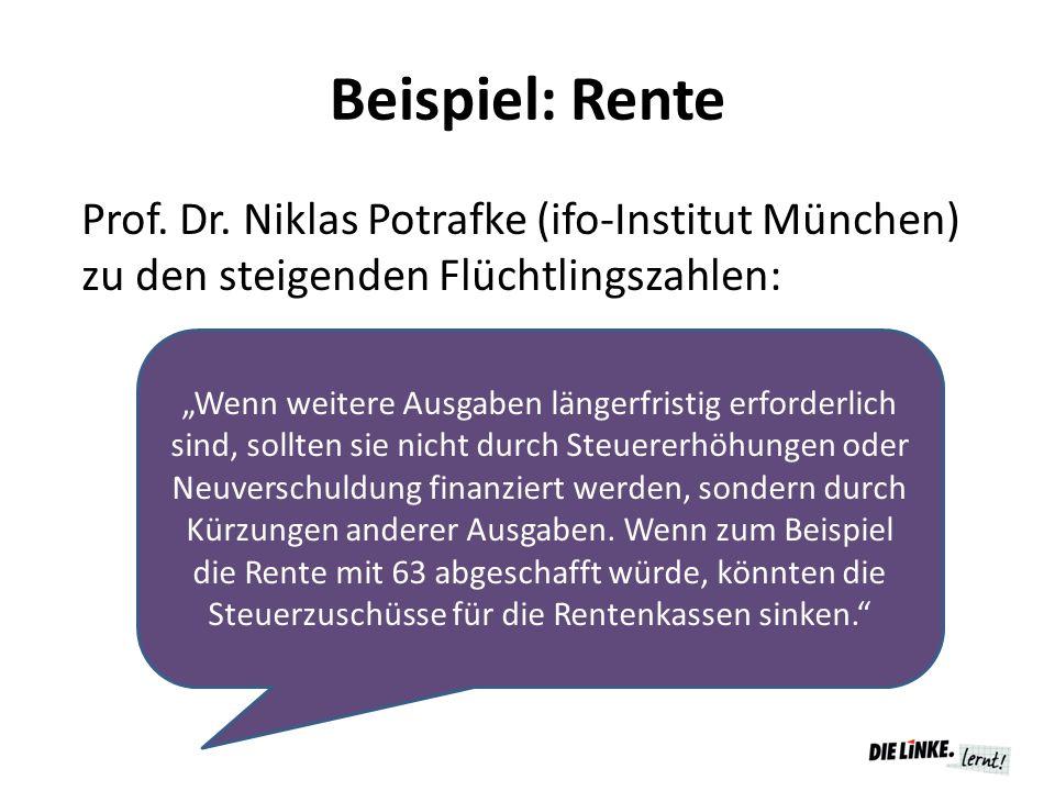 Beispiel: Rente Prof. Dr. Niklas Potrafke (ifo-Institut München) zu den steigenden Flüchtlingszahlen:
