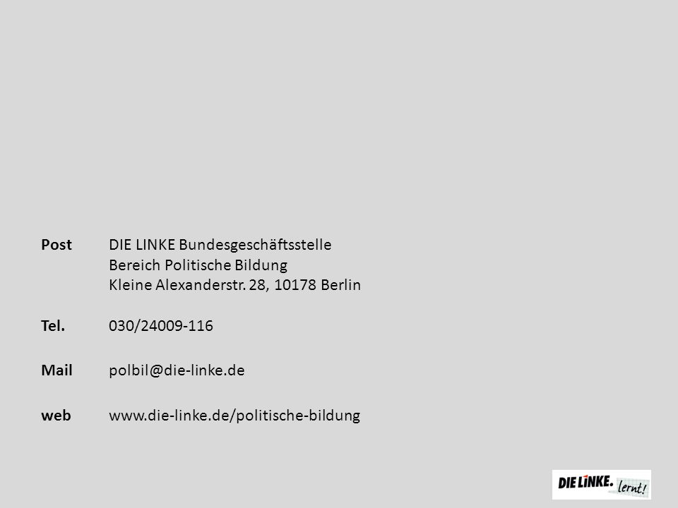 Post DIE LINKE Bundesgeschäftsstelle Bereich Politische Bildung Kleine Alexanderstr.