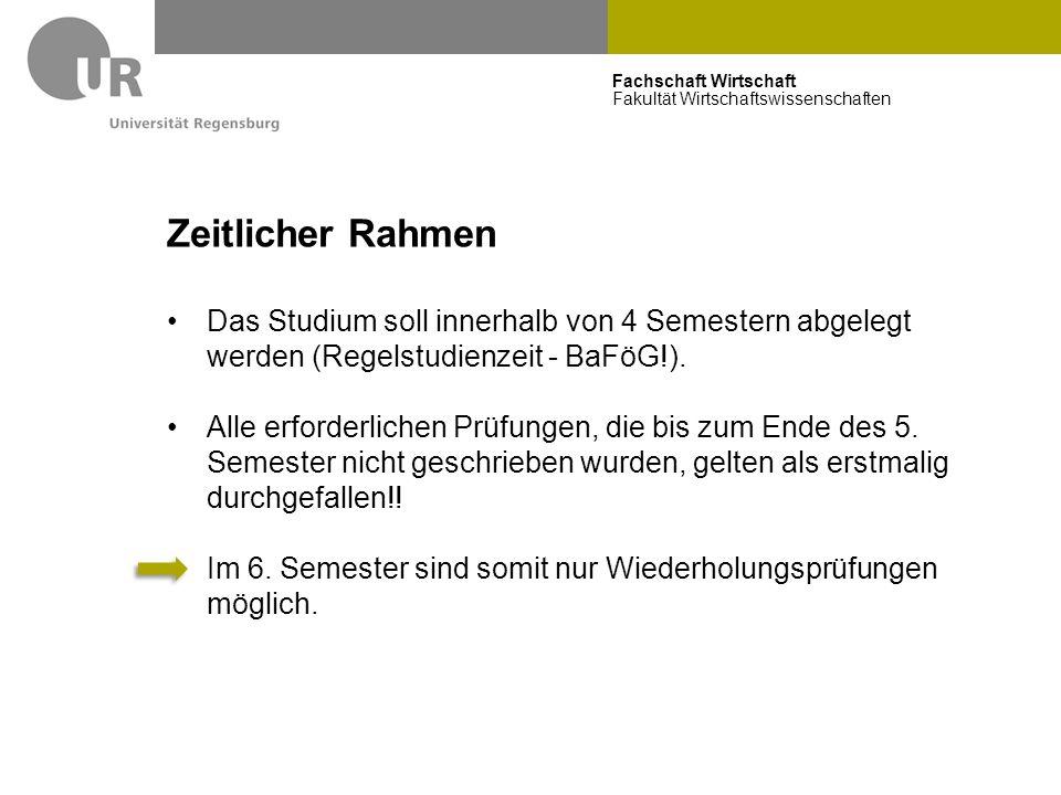 Zeitlicher Rahmen Das Studium soll innerhalb von 4 Semestern abgelegt werden (Regelstudienzeit - BaFöG!).