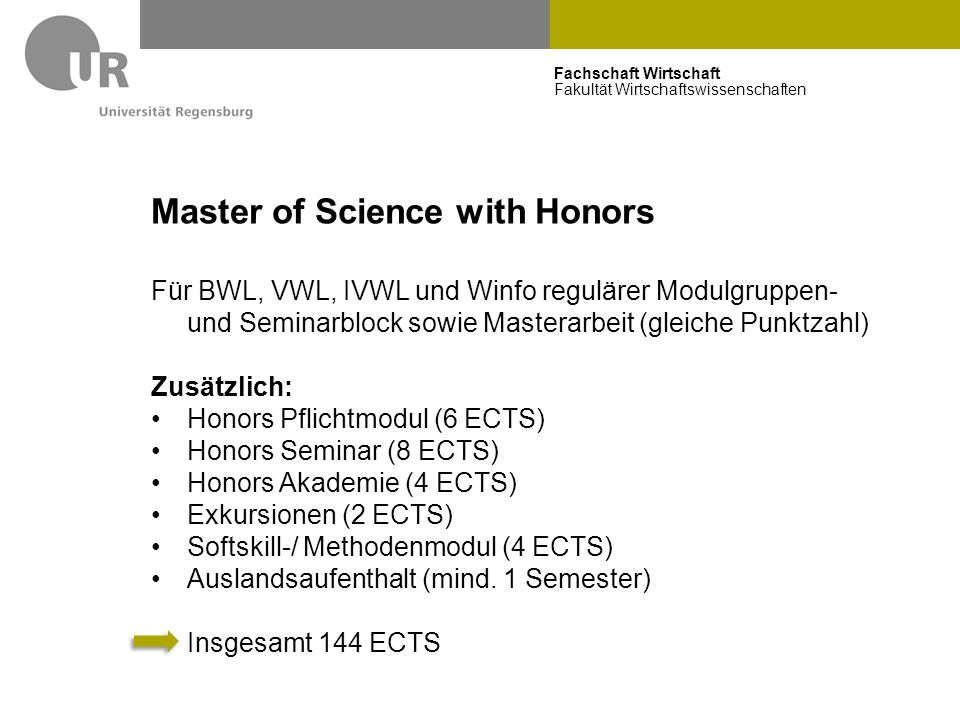 Master of Science with Honors