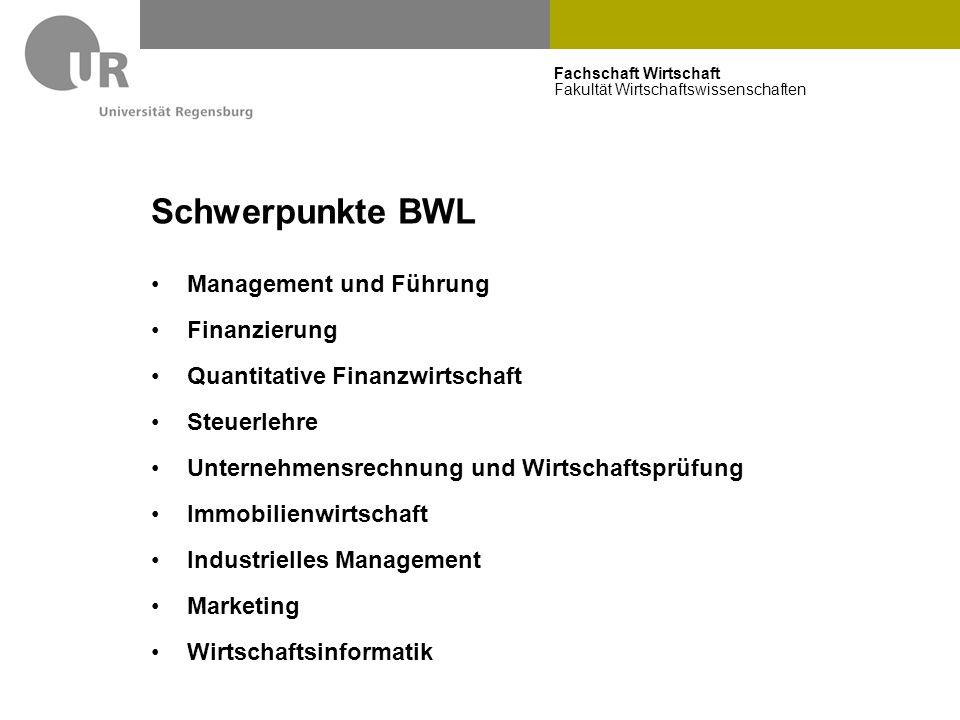 Schwerpunkte BWL Management und Führung Finanzierung