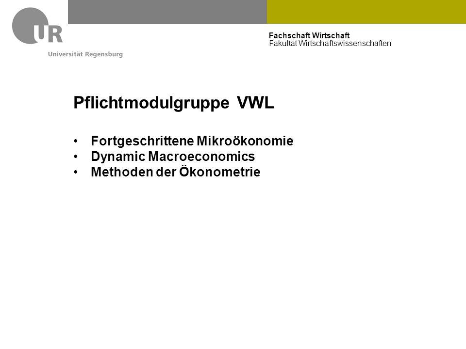 Pflichtmodulgruppe VWL