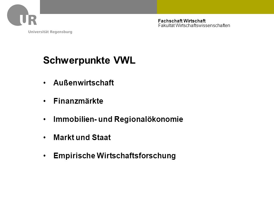 Schwerpunkte VWL Außenwirtschaft Finanzmärkte