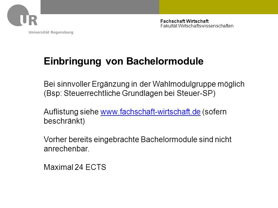 Einbringung von Bachelormodule