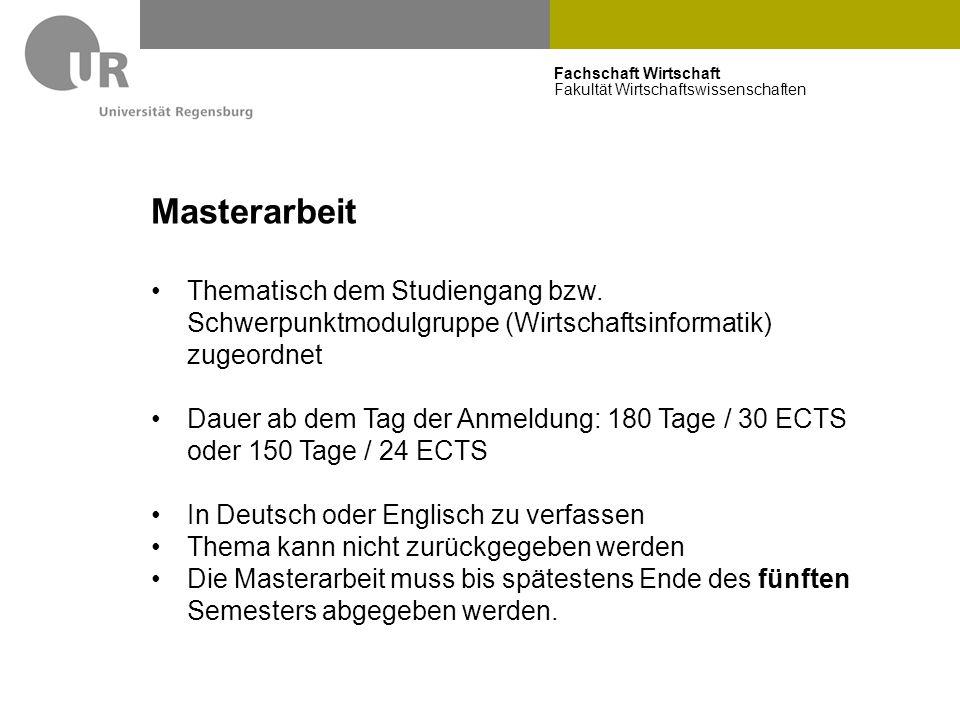 Masterarbeit Thematisch dem Studiengang bzw. Schwerpunktmodulgruppe (Wirtschaftsinformatik) zugeordnet.