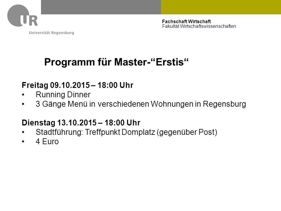 Programm für Master- Erstis