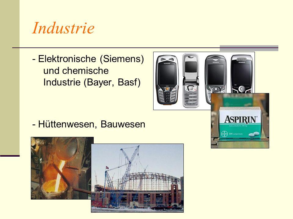 Industrie - Elektronische (Siemens) und chemische Industrie (Bayer, Basf) - Hüttenwesen, Bauwesen