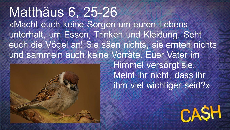 Matthäus 6, 25-26 Matthäus 6, 25-26.