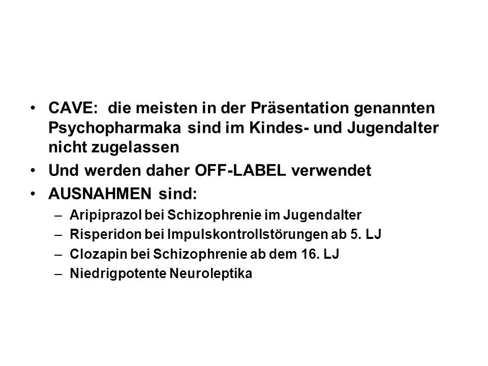 Und werden daher OFF-LABEL verwendet AUSNAHMEN sind: