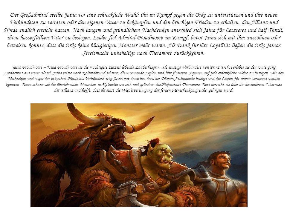 Der Großadmiral stellte Jaina vor eine schreckliche Wahl: ihn im Kampf gegen die Orks zu unterstützen und ihre neuen Verbündeten zu verraten oder den eigenen Vater zu bekämpfen und den brüchigen Frieden zu erhalten, den Allianz und Horde endlich erreicht hatten.