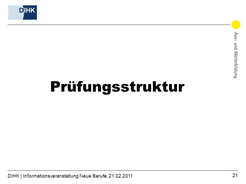Prüfungsstruktur DIHK | Informationsveranstaltung Neue Berufe, 21.02.2011