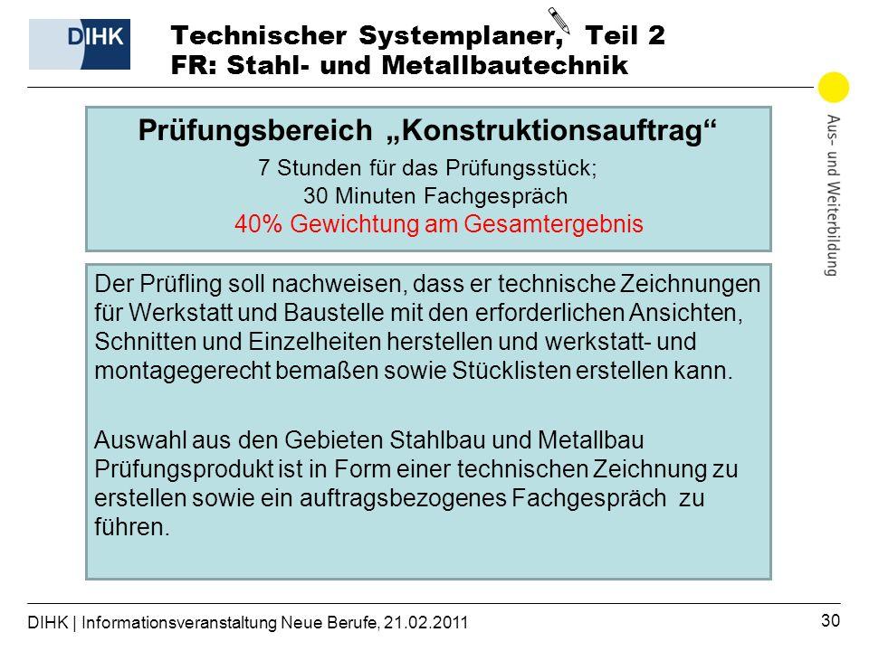 Technischer Systemplaner, Teil 2 FR: Stahl- und Metallbautechnik