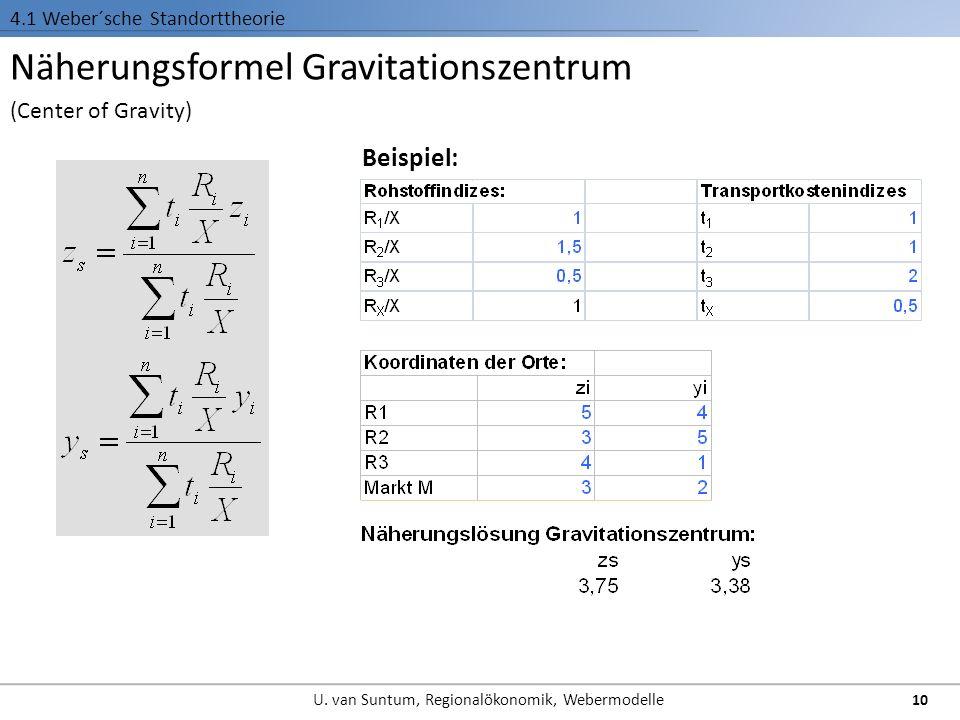 Näherungsformel Gravitationszentrum