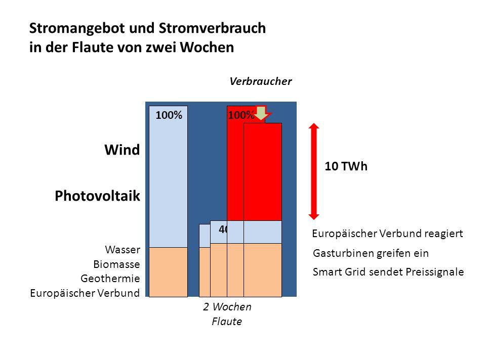 Stromangebot und Stromverbrauch in der Flaute von zwei Wochen