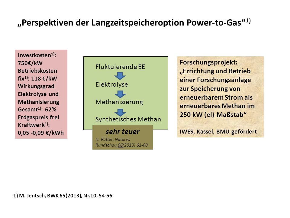 """""""Perspektiven der Langzeitspeicheroption Power-to-Gas 1)"""