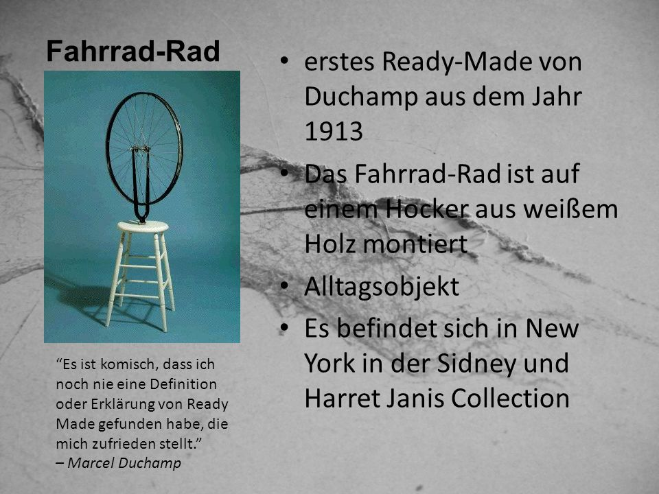 erstes Ready-Made von Duchamp aus dem Jahr 1913