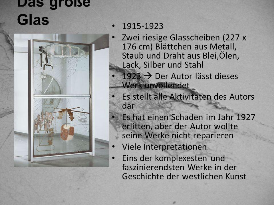 Das große Glas1915-1923. Zwei riesige Glasscheiben (227 x 176 cm) Blättchen aus Metall, Staub und Draht aus Blei,Ӧlen, Lack, Silber und Stahl.