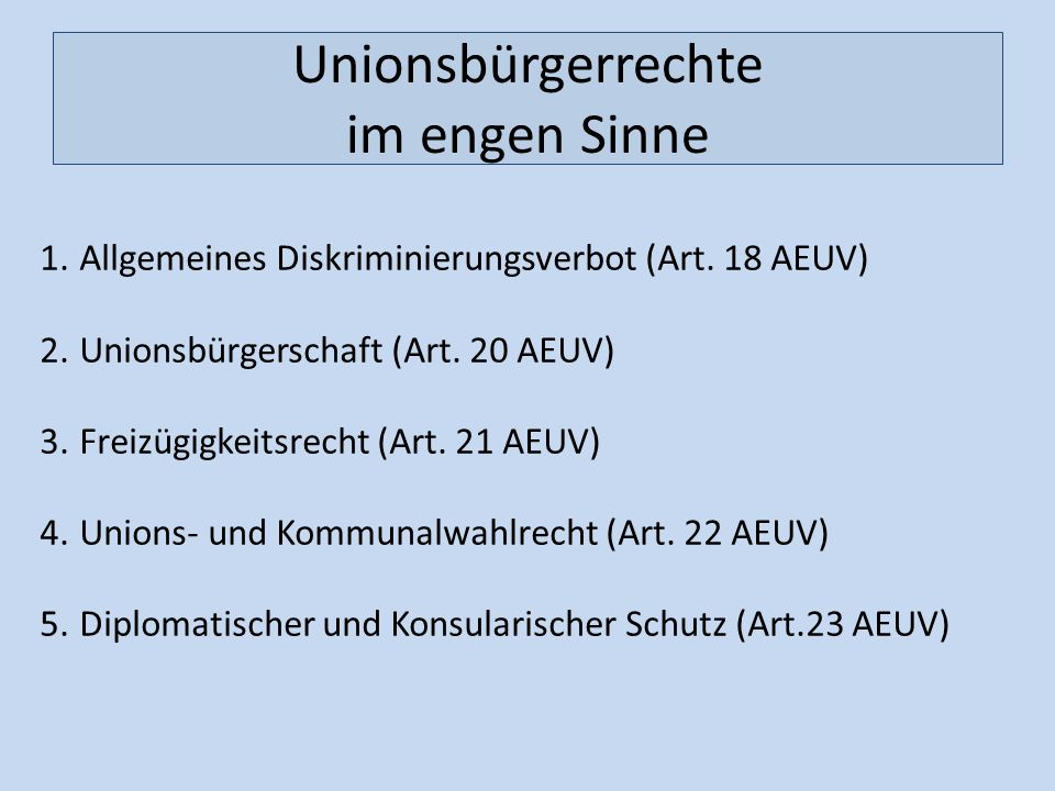 Unionsbürgerrechte im engen Sinne
