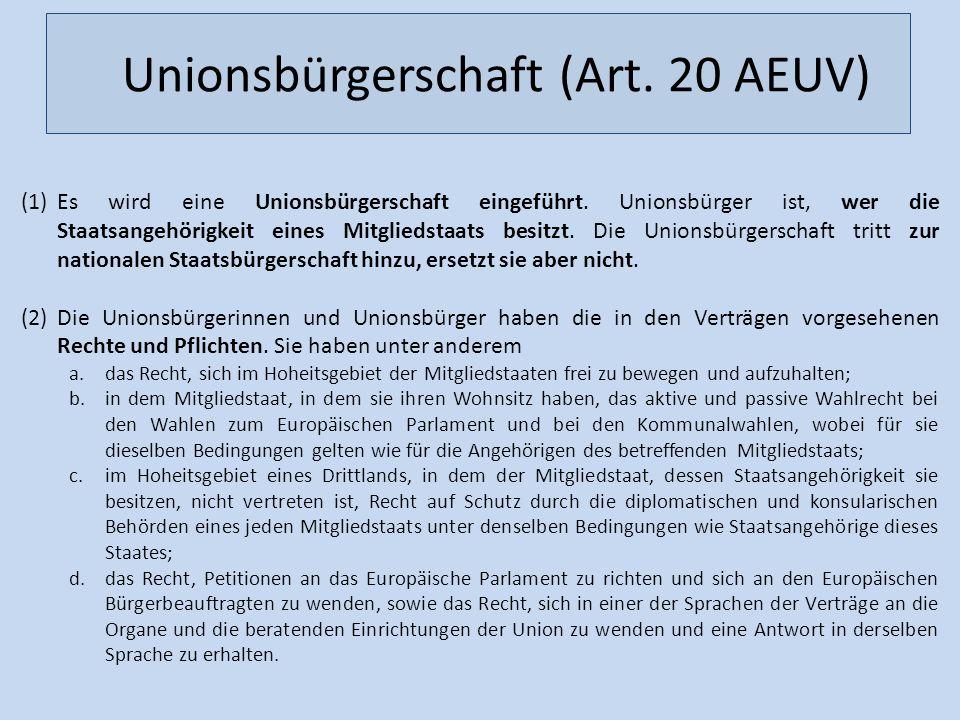 Unionsbürgerschaft (Art. 20 AEUV)
