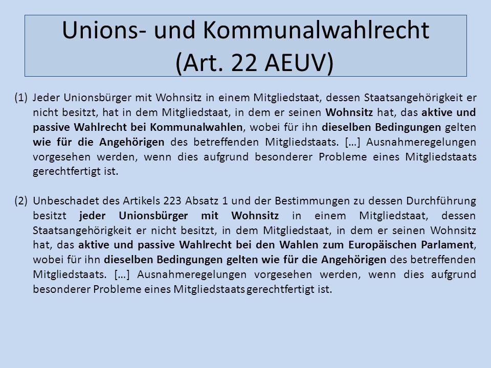 Unions- und Kommunalwahlrecht (Art. 22 AEUV)