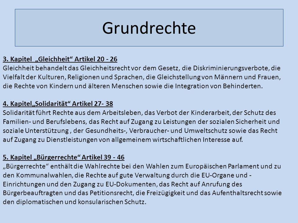 """Grundrechte 3. Kapitel """"Gleichheit Artikel 20 - 26"""