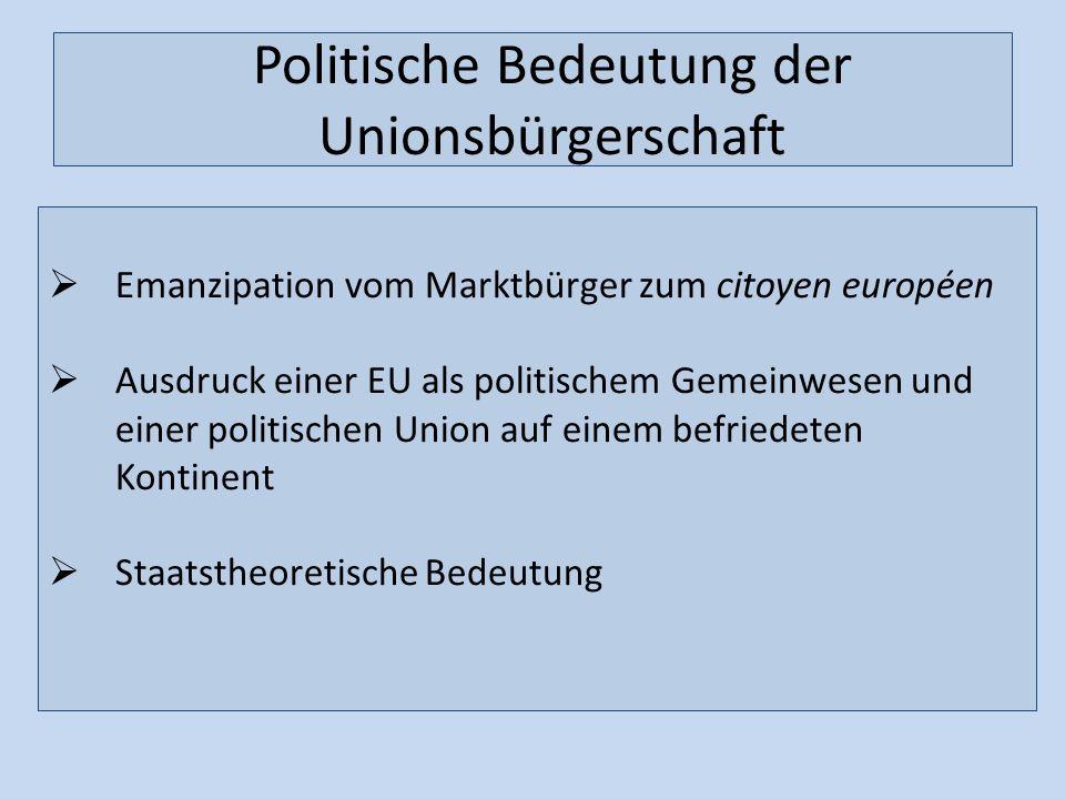 Politische Bedeutung der Unionsbürgerschaft