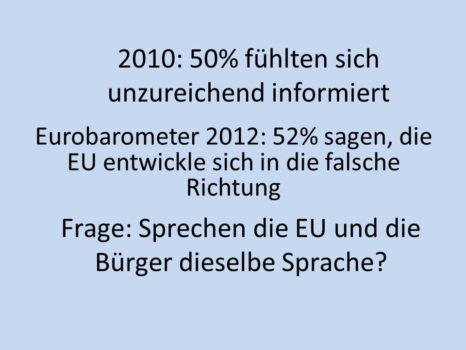Frage: Sprechen die EU und die Bürger dieselbe Sprache
