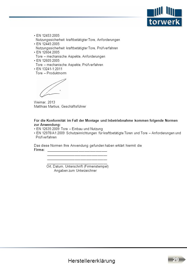 Herstellererklärung 29 EN 12453:2005