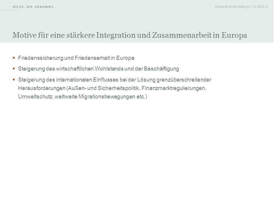 Motive für eine stärkere Integration und Zusammenarbeit in Europa