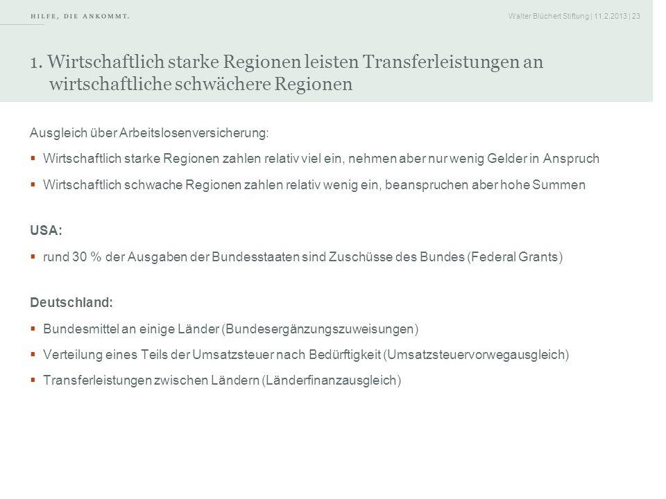 1. Wirtschaftlich starke Regionen leisten Transferleistungen an wirtschaftliche schwächere Regionen