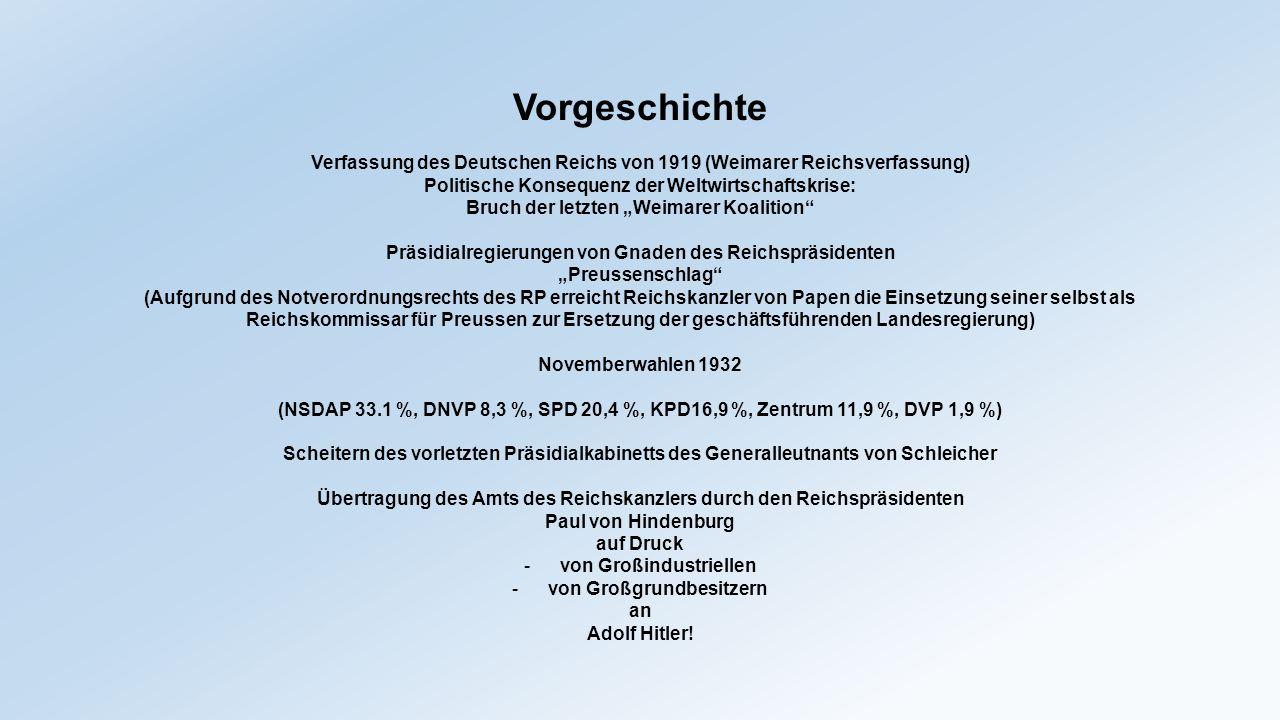 Vorgeschichte Verfassung des Deutschen Reichs von 1919 (Weimarer Reichsverfassung) Politische Konsequenz der Weltwirtschaftskrise: