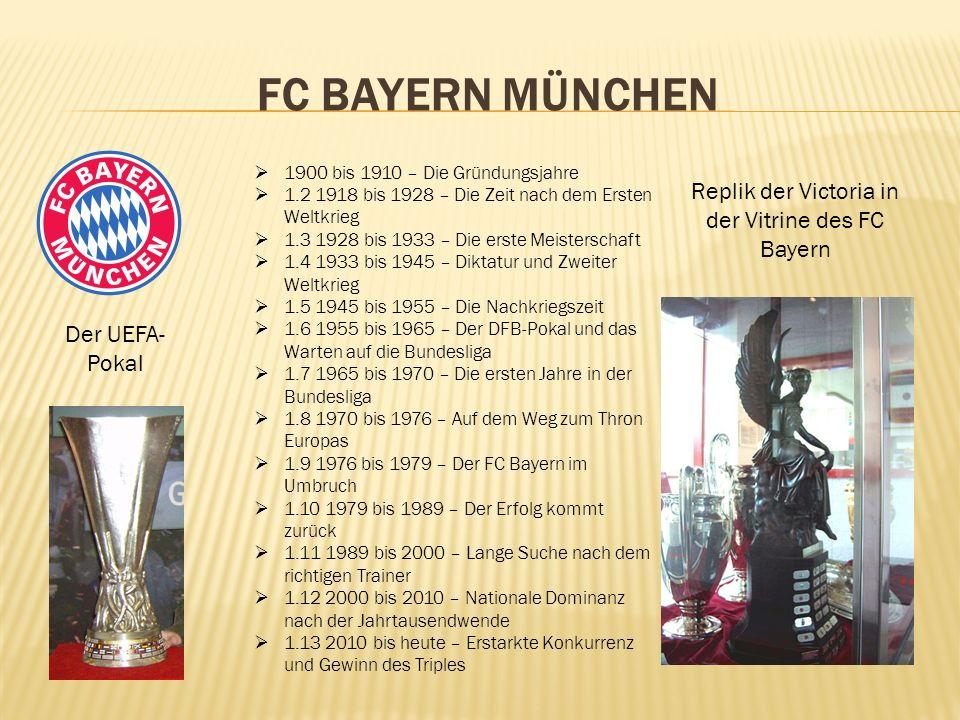 Replik der Victoria in der Vitrine des FC Bayern
