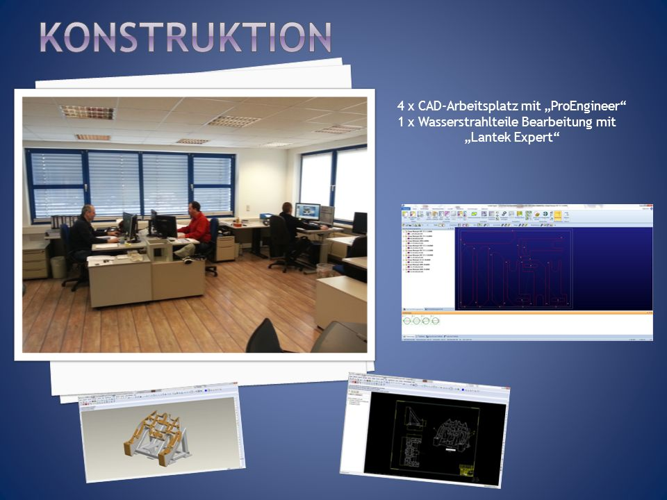 "Konstruktion 4 x CAD-Arbeitsplatz mit ""ProEngineer"