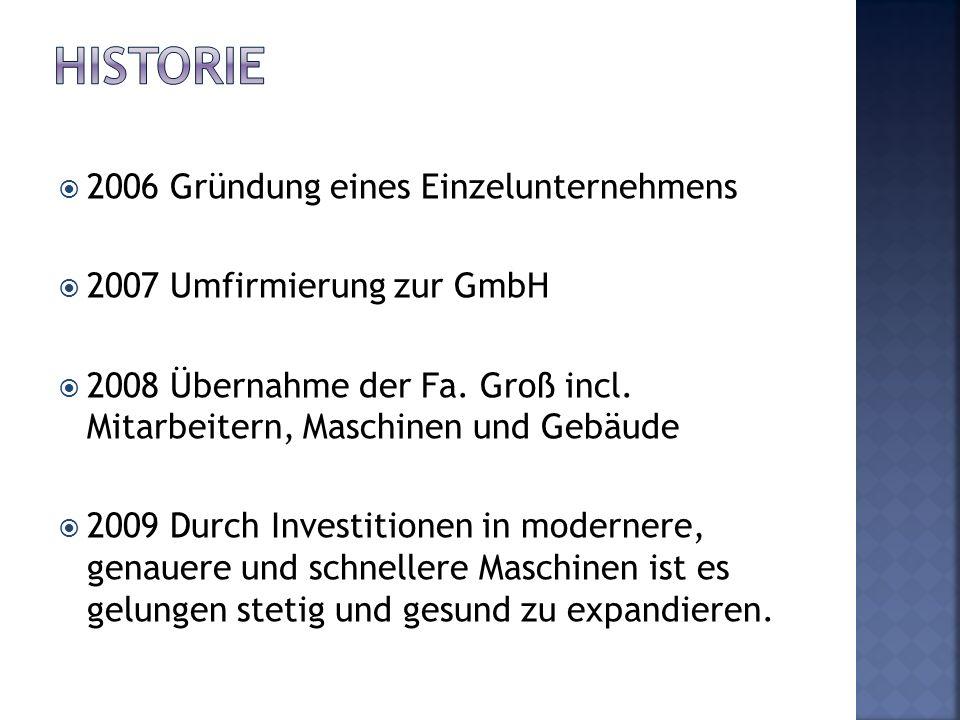 Historie 2006 Gründung eines Einzelunternehmens