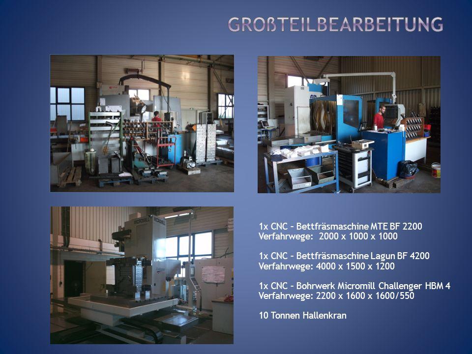 Großteilbearbeitung 1x CNC – Bettfräsmaschine MTE BF 2200