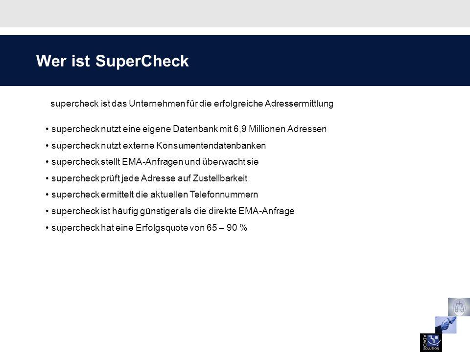 Wer ist SuperCheck supercheck ist das Unternehmen für die erfolgreiche Adressermittlung.