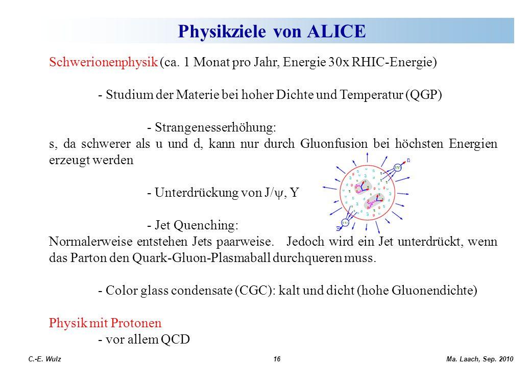 Physikziele von ALICE Schwerionenphysik (ca. 1 Monat pro Jahr, Energie 30x RHIC-Energie) - Studium der Materie bei hoher Dichte und Temperatur (QGP)