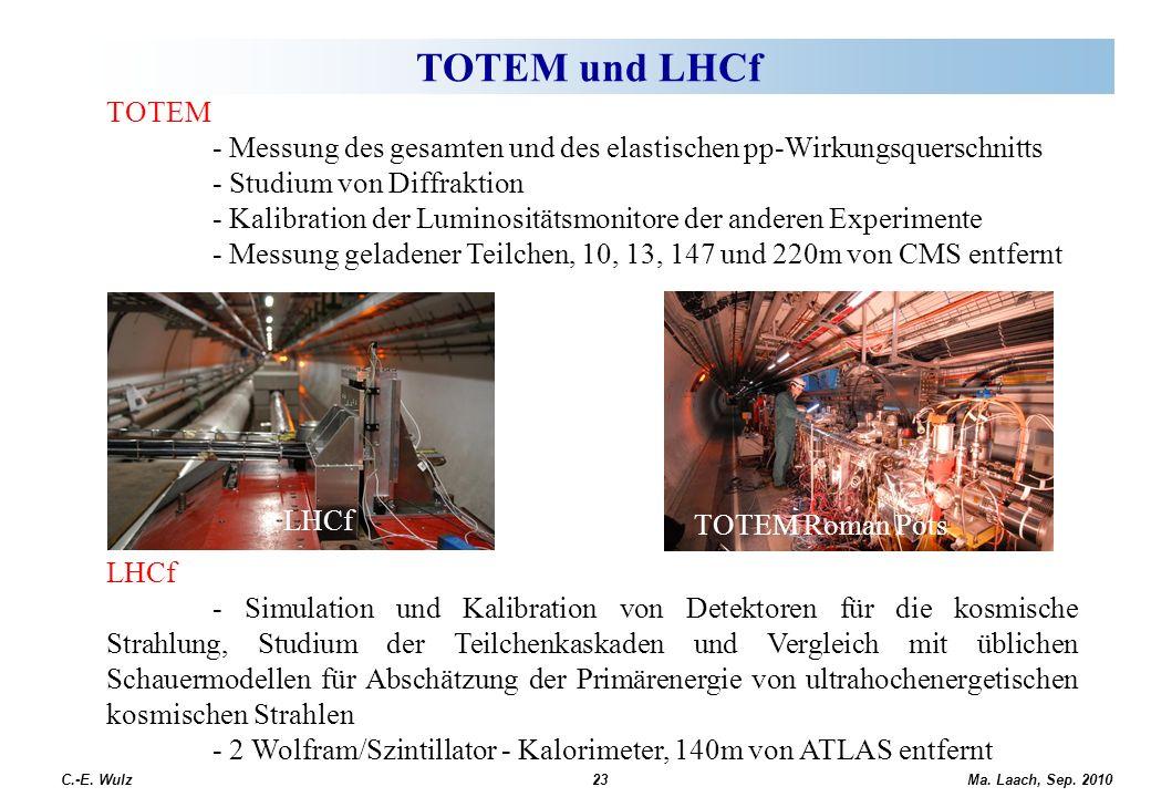 TOTEM und LHCf TOTEM. - Messung des gesamten und des elastischen pp-Wirkungsquerschnitts. - Studium von Diffraktion.