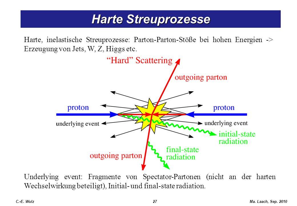 Harte Streuprozesse Harte, inelastische Streuprozesse: Parton-Parton-Stöße bei hohen Energien -> Erzeugung von Jets, W, Z, Higgs etc.