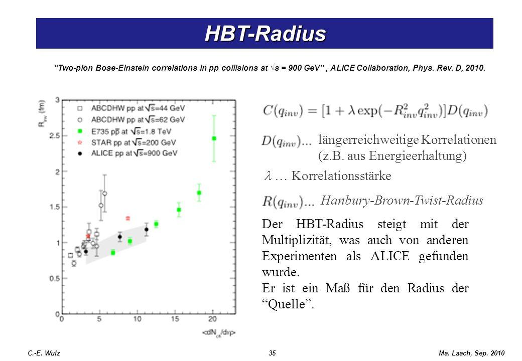 HBT-Radius längerreichweitige Korrelationen