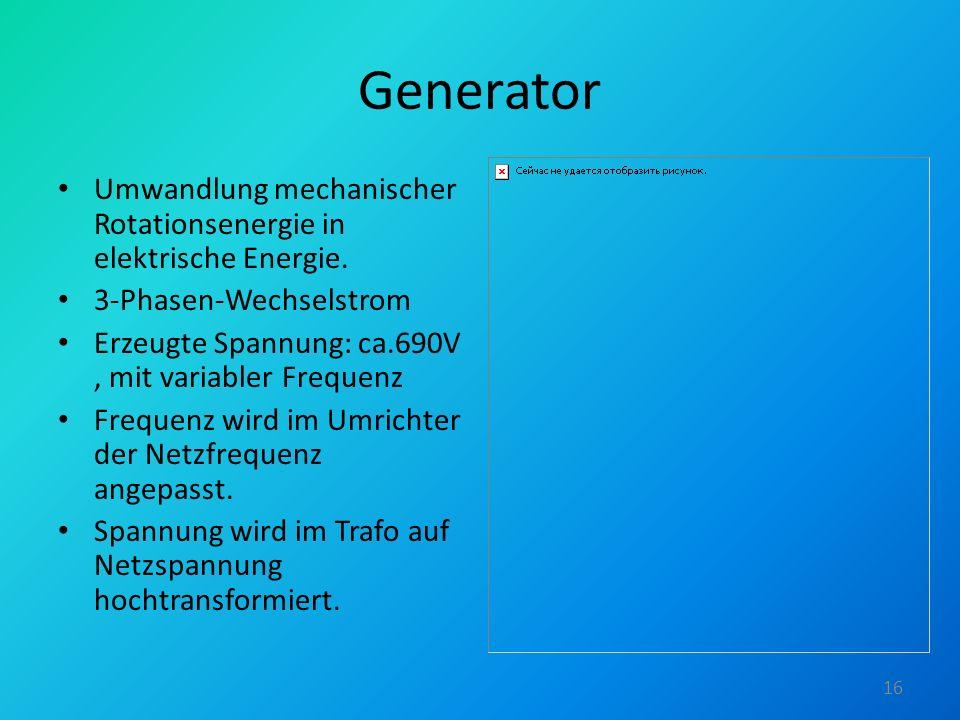 Generator Umwandlung mechanischer Rotationsenergie in elektrische Energie. 3-Phasen-Wechselstrom.