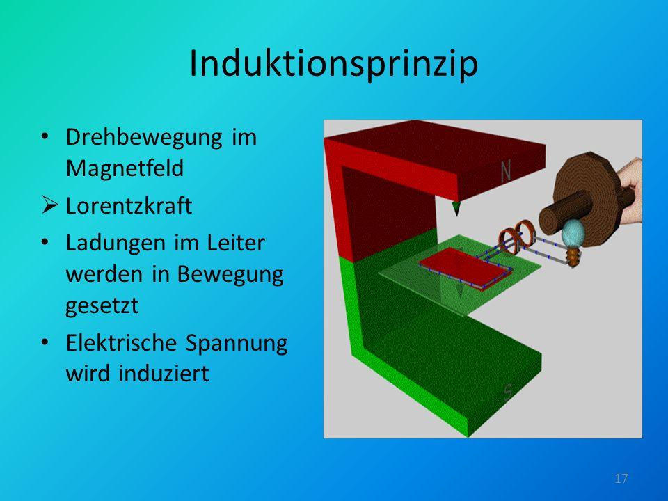 Induktionsprinzip Drehbewegung im Magnetfeld Lorentzkraft