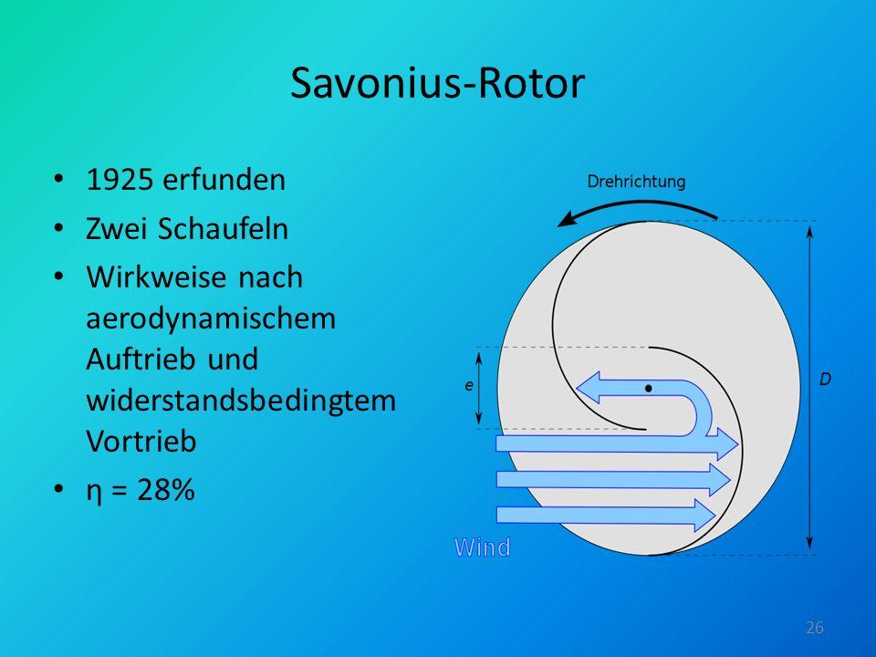 Savonius-Rotor 1925 erfunden Zwei Schaufeln